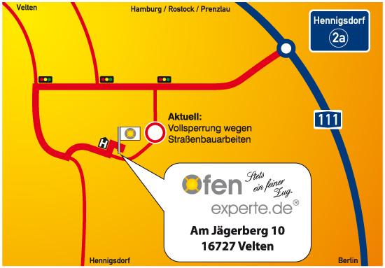 Ofenexperte.de liegt direkt an der Berliner Stadtgrenze unweit der A111