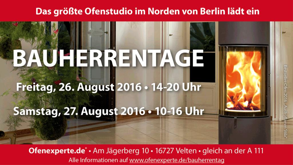 Bauherrentage bei Ofenexperte.de am 26. und 27. August 2016