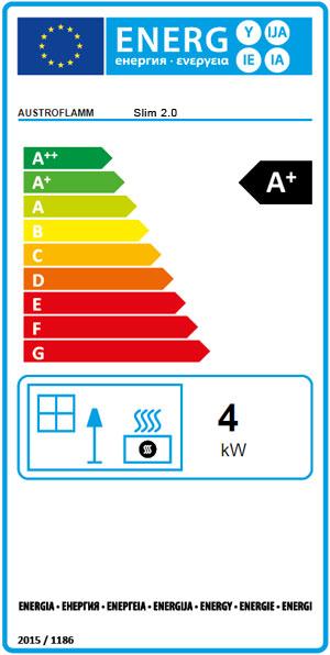 Energieeffizienzlabel für Kaminofen Slim von Austroflamm