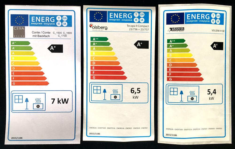 Energieeffizienzlabel einiger Kaminöfen aus unserer Ausstellung