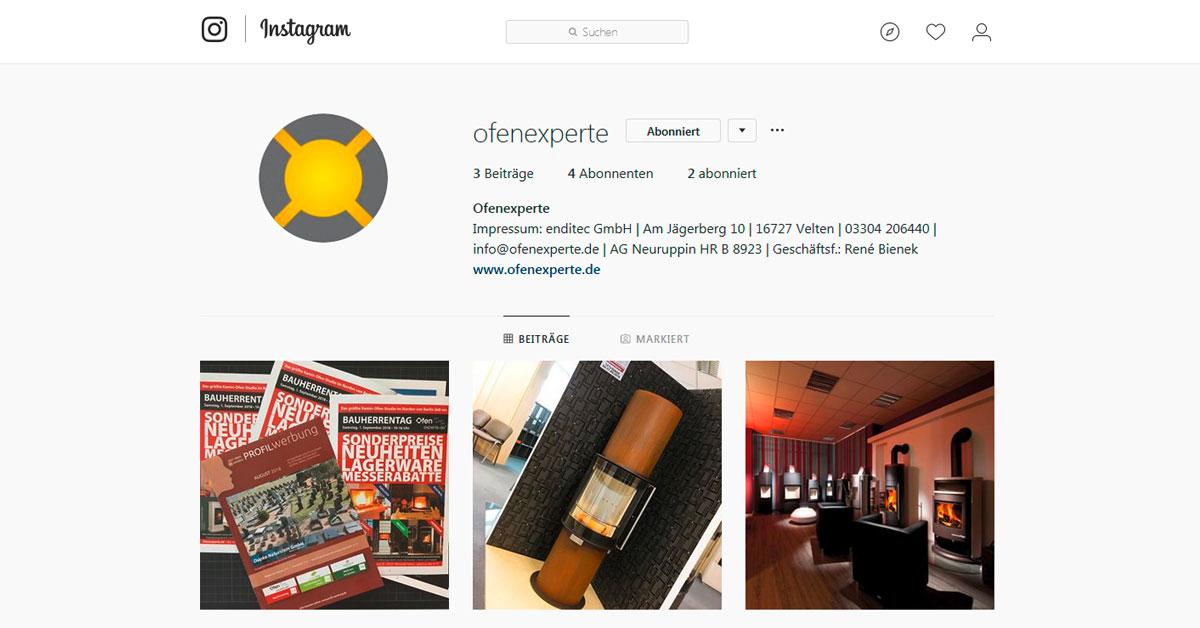 Jungfräuliches Konto von Ofenexperte bei Instagram