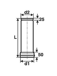 ø 80 mm Anschlussstutzen für verstellbares Rohr Steckrichtung zum Schornstein