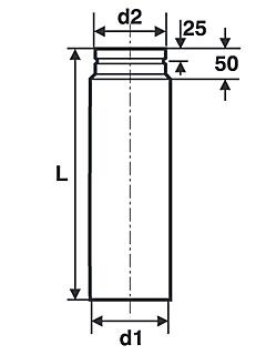 Länge 500 mm Ofenrohr Kaminrohr für Pelletofen ø 100 mm