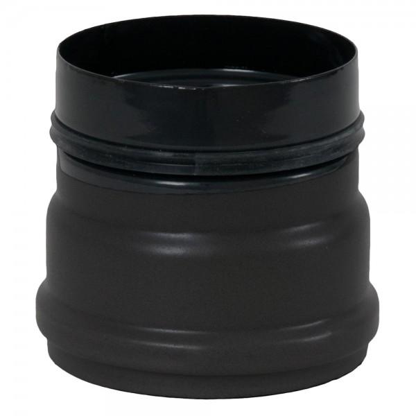 Ofenanschlussstück für Pelletofen, ø 100 mm, mit 2 Sicken und Gummidichtungen