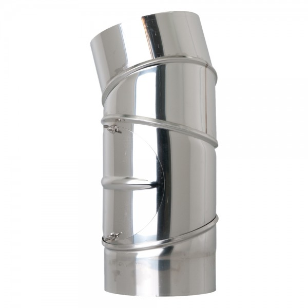 Ofenrohr-Bogen, Edelstahl, drehbar, 0° - 90°, 4-teilig, mit Reinigungs-Öffnung, ø 150 mm
