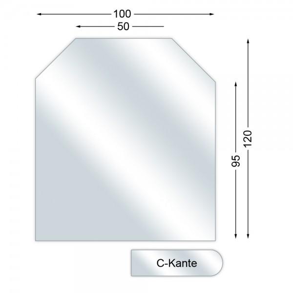 Funkenschutzplatte, Glasbodenplatte mit C-Kante, Sechseck, 6 mm stark, 100 x 120 cm
