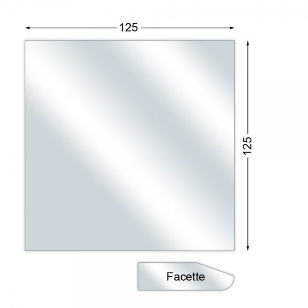 Funkenschutzplatte, Glasbodenplatte mit Facette, Quadrat, 6 mm stark, 125 x 125 cm