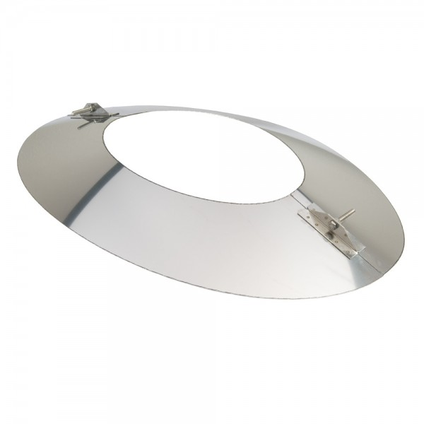 Schornstein, Wandblende oval 2-teilig 45°, Edelstahl, ø 113 mm (173 mm)