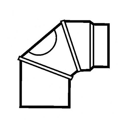 Bogen, drehbar, 0° - 90°, 3-teilig, mit Reinigungs-Öffnung, gebläut, ø 150 mm