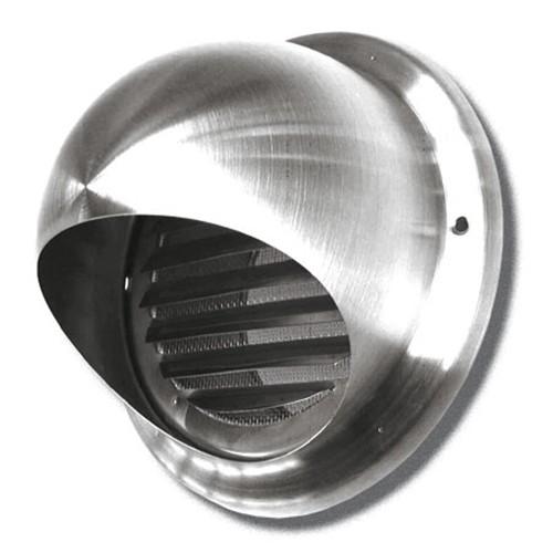 Lufthaube mit Lamellengitter, ø 125 mm, Edelstahl gebürstet