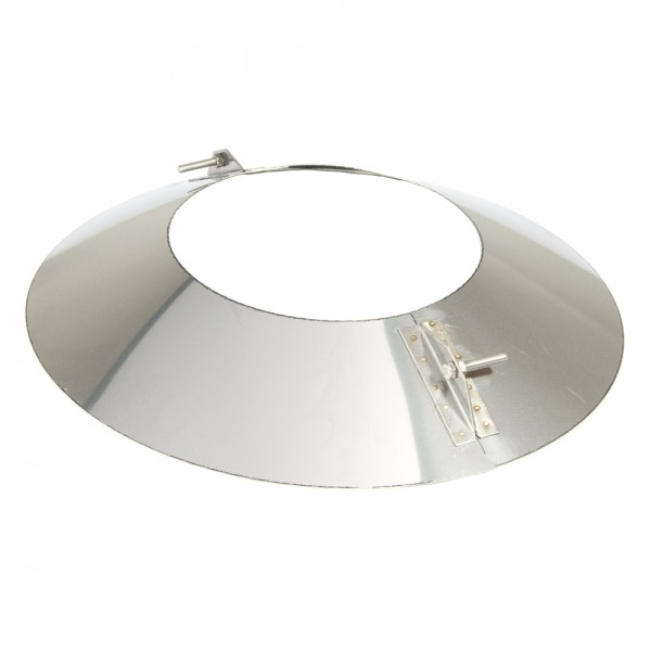 Schornstein, Wandblende oval 2-teilig 15°, Edelstahl, ø 200 mm (260 mm)