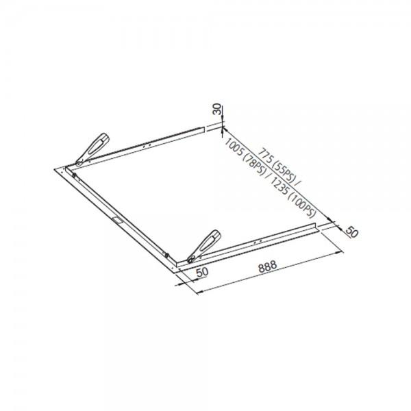 Leda Tragrahmen (SERA 100 PS) Breite 1235 mm x Tiefe 888 mm, Auflage 50 mm