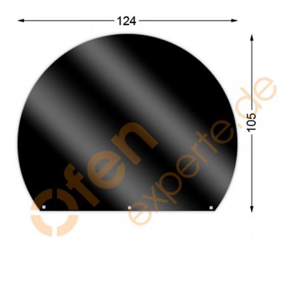 Bodenplatte, Kreisabschnitt 105 x 124 cm, Mattschwarz, Gussgrau zweiseitig emailliert