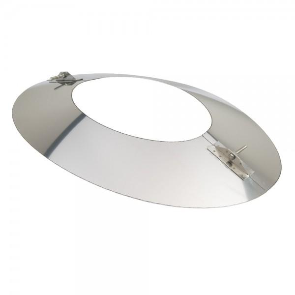 Schornstein, Wandblende oval 2-teilig 45°, Edelstahl, ø 150 mm (210 mm)