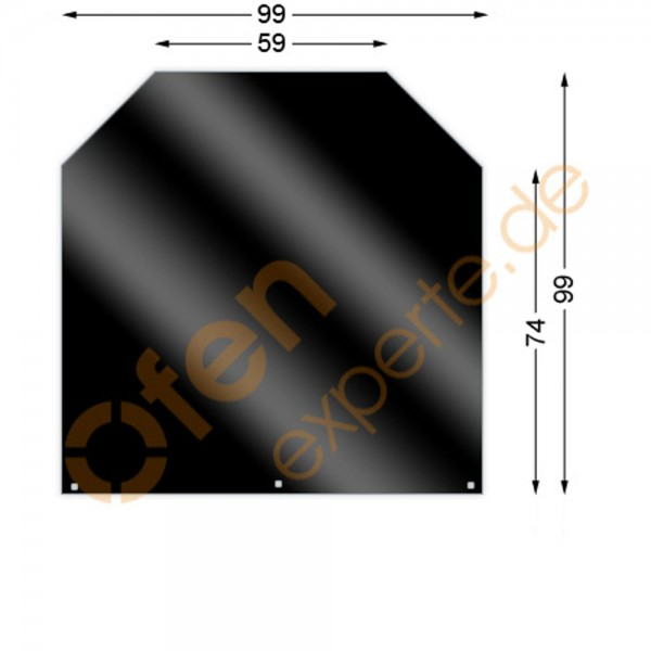 Bodenplatte, Sechseck 99 x 99 cm, Mattschwarz, Gussgrau zweiseitig emailliert