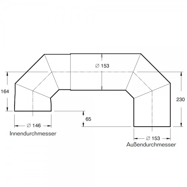 Buderus Abgas-Doppelbogen mit Tür, ø 146 mm, vertikale (oben) Kuppel-Anordnung für Kachelofeneinsätz