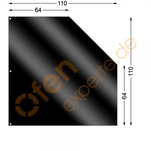 Bodenplatte, Fünfeck 110 x 110 cm, Mattschwarz, Gussgrau zweiseitig emailliert