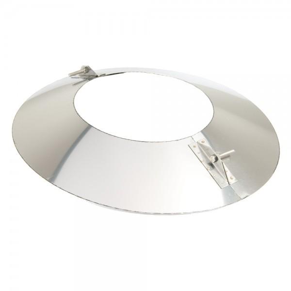Schornstein, Wandblende oval 2-teilig 30°, Edelstahl, ø 150 mm (210 mm)