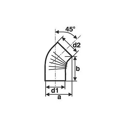 Bogen, gerippt, 45°, ohne Reinigungs-Öffnung, gebläut, ø 130 mm