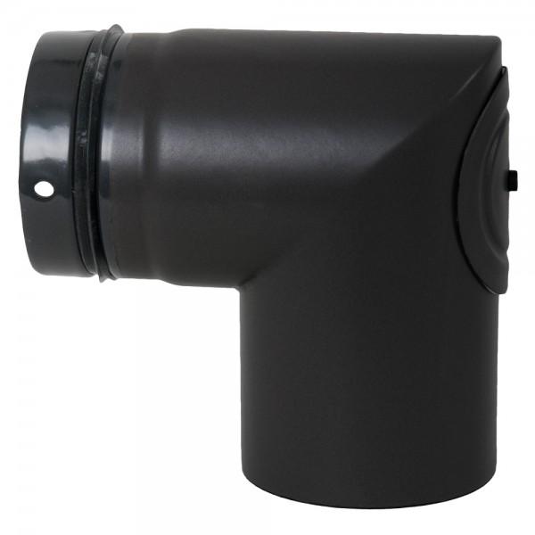 Ofenrohr-Bogen für Pelletofen, geschweißt, 90°, ø 100 mm mit Reinigungsdeckel