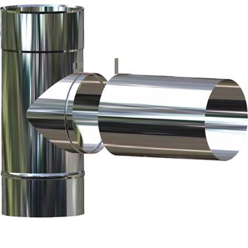 T-Stück 90° mit Übergang von 113 mm auf 80 mm