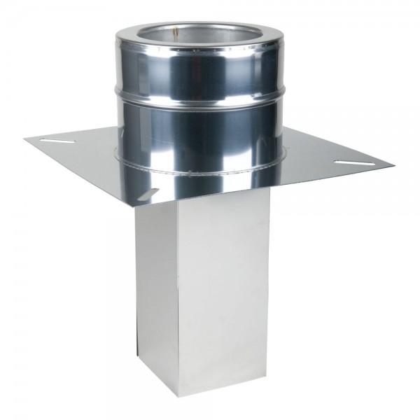 Fußteil mit Einschub doppelwandig 130x180 auf 200 mm für Schornsteinverlängerung