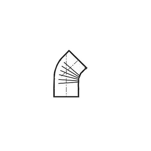 Ofenrohr, Bogen, gerippt, 45°, ohne Reinigungs-Öffnung, ø 130 mm