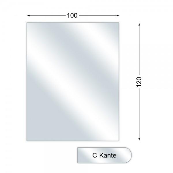 Funkenschutzplatte, Glasbodenplatte mit C-Kante, Rechteck, 6 mm stark, 100 x 120 cm