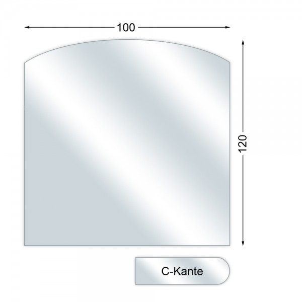 Funkenschutzplatte, Glasbodenplatte mit C-Kante, Segmentbogen, 6 mm stark, 100 x 120 cm