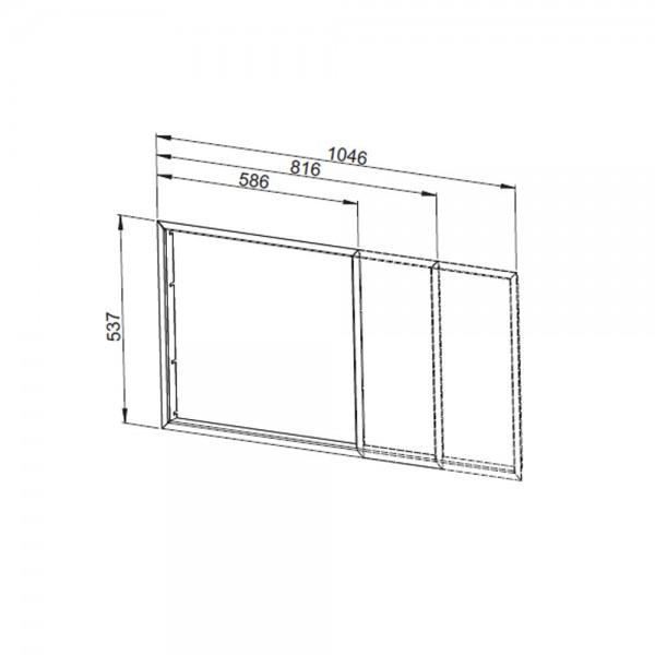 Blendrahmen für DS-Rückseite/ 2. Seite, schwarz, flach (Leda SERA 100 DS)