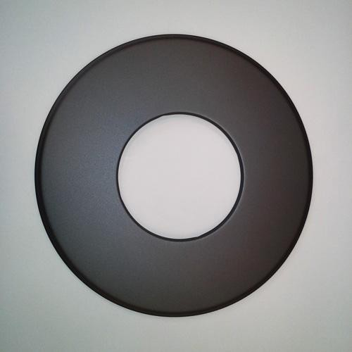 Rosette mit 90 mm breitem Rand, Senotherm, Gussgrau, ø 130 mm, geeignet für Kaminöfen