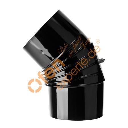 Ofenrohr, Bogen, gerippt, 45°, Prüföffnung, emalliert, ø 110 mm