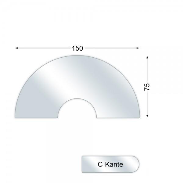 CERA Design Glasvorlegeplatte, 1500 x 750 mm, Kaminofen faro