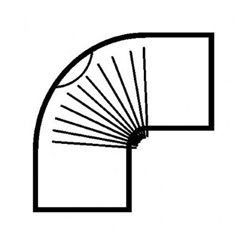 Bogen, gerippt, 90°, mit Reinigungs-Öffnung, weiß pulverbeschichtet, ø 130 mm