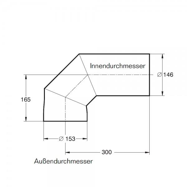 Buderus Abgasbogen, ø 146 mm, horizontale (hinten) Kuppel-Anordnung für Kachelofeneinsätze