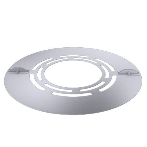 Deckenblende zweiteilig mit Hinterlüftung (Breite 120 mm), 15°, Edelstahl, für ø 180 mm