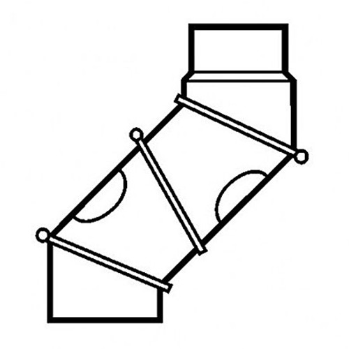 Multibogen, drehbar 0 - 90°, 2 Reinigungsöffnungen, 4-teilig, ø 150 mm