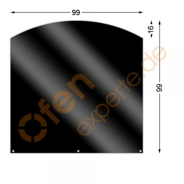 Bodenplatte, Segmentbogen 99 x 99 cm, Mattschwarz, Gussgrau zweiseitig emailliert