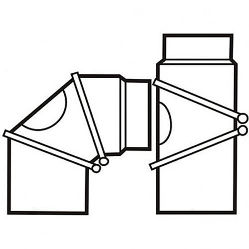 Bogen, drehbar 0 - 90 °, mit Reinigungsöffnung, 3-teilig, ø 150 mm