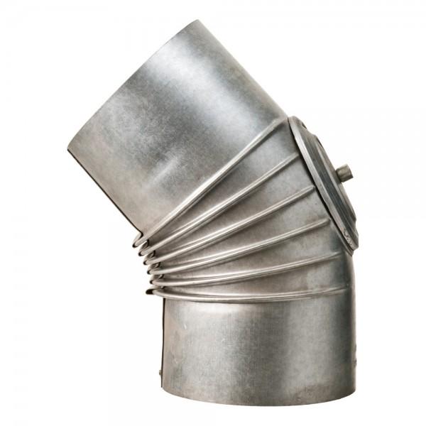 Bogen, gerippt, 45°, mit Reinigungs-Öffnung, ø 130 mm