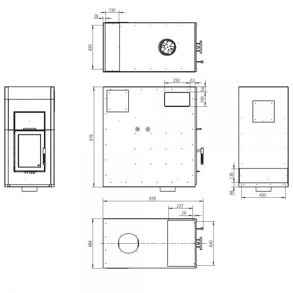 Einsatzverkleidung ECO-1 für DIAMANT H200 W/ H300 W in Kelleranlagen