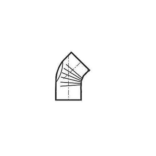 Bogen, gerippt, 45°, mit Reinigungs-Öffnung, weiß pulverbeschichtet, ø 110 mm