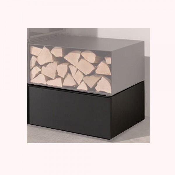 wodtke Box black mit Schublade für den Kaminofen
