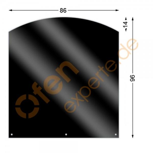 Bodenplatte, Segmentbogen 96 x 86 cm, Mattschwarz, Gussgrau zweiseitig emailliert