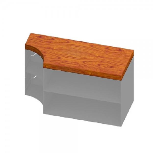 CERA Design Holzauflage eckig, braun gebeizt für Anbauelement Kaminofen faro