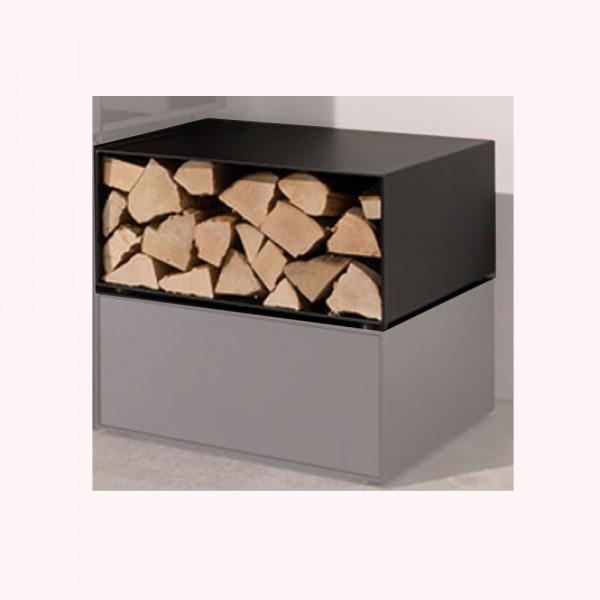 wodtke Box black als Holzlege für den Kaminofen
